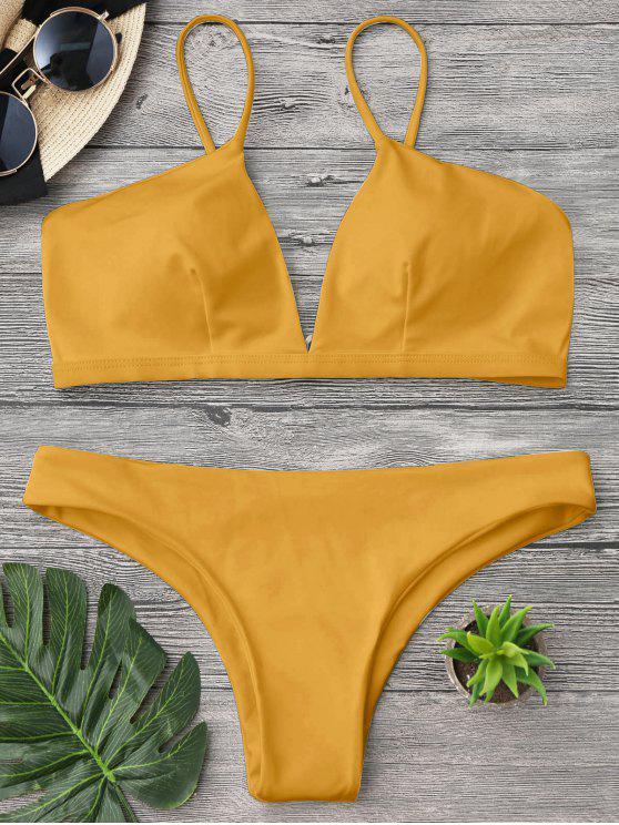 fashion Padded Cami Plunge Bathing Suit - YELLOW S