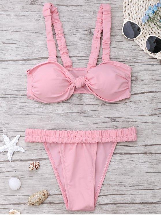 women Smocked Padded Bandeau Bikini Set - PINK L