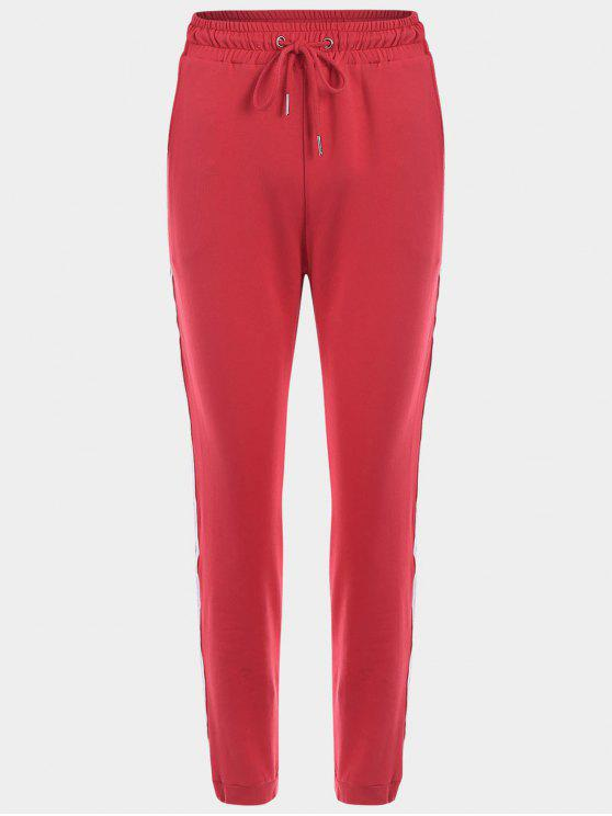 trendy Striped Drawstring Sports Pants - RED M