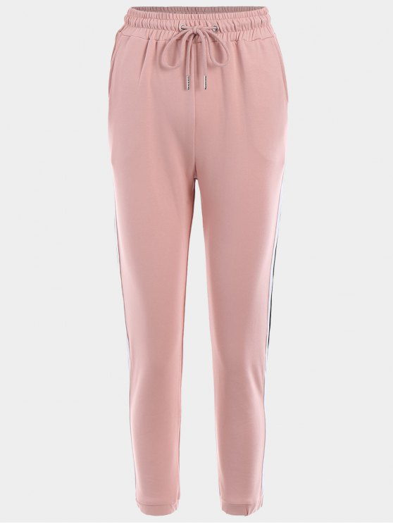 chic Striped Drawstring Sports Pants - PINK L