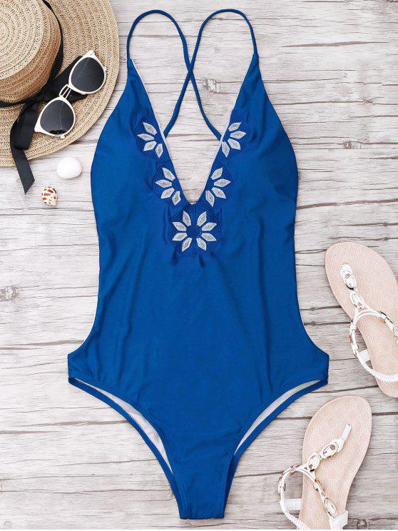 affordable Embroidered Cami One Piece Swimwear - BLUE L
