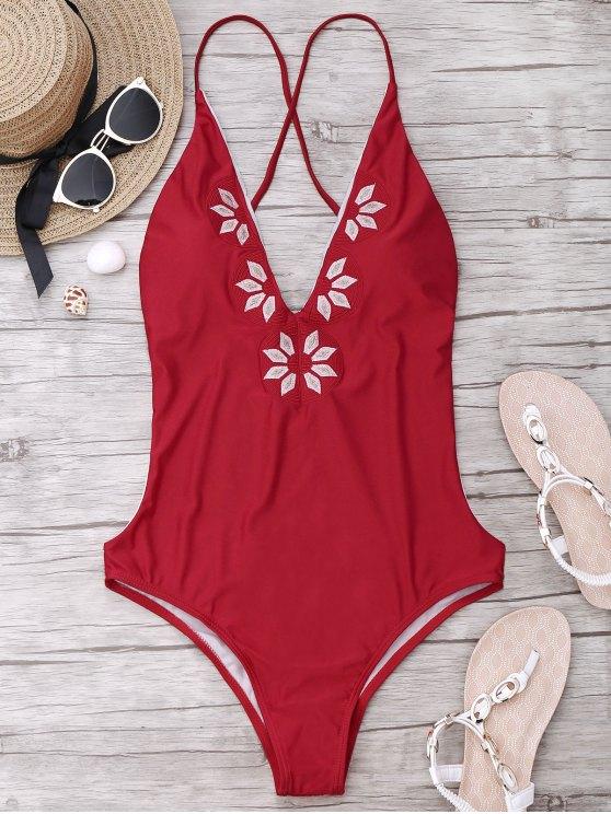 women Embroidered Cami One Piece Swimwear - RED XL