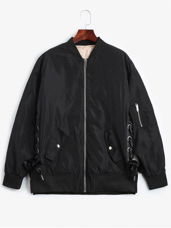 fancy Lace Up Zipper Bomber Jacket - BLACK S
