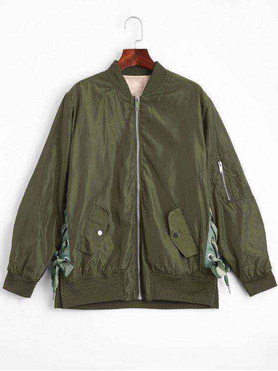 affordable Lace Up Zipper Bomber Jacket - ARMY GREEN S