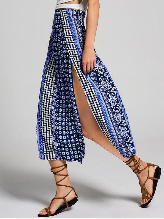 hot High Slit Tribal Print Bohemian Skirt - MULTI S