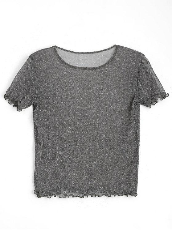 buy Shiny Ruffles See Thru Top - DEEP GRAY S