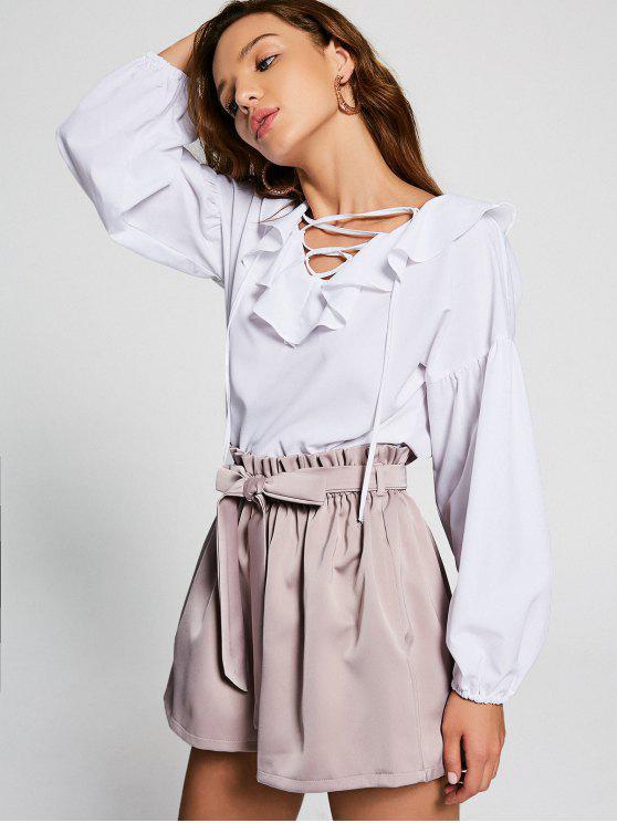 women's Ruffle Hem Puff Sleeve Lace Up Blouse - WHITE S