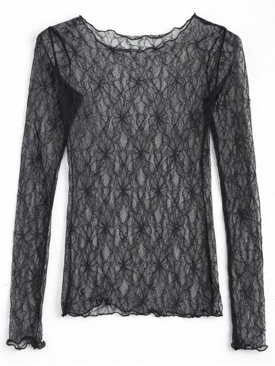 outfit Floral See Thru Lace Blouse - BLACK ONE SIZE