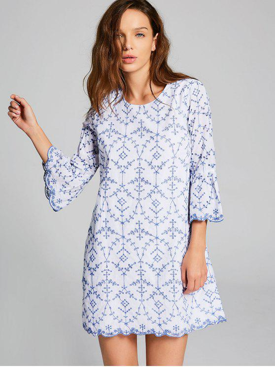 online Embroidered Flare Sleeve Mini Dress - BLUE AND WHITE M