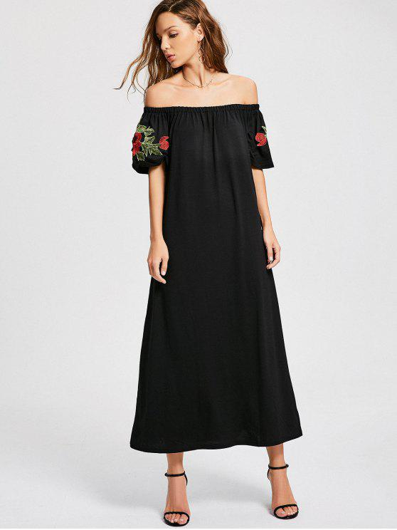 chic Floral Patched Off The Shoulder Dress - BLACK L