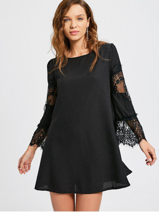 women Long Sleeve Lace Panel Dress - BLACK XL