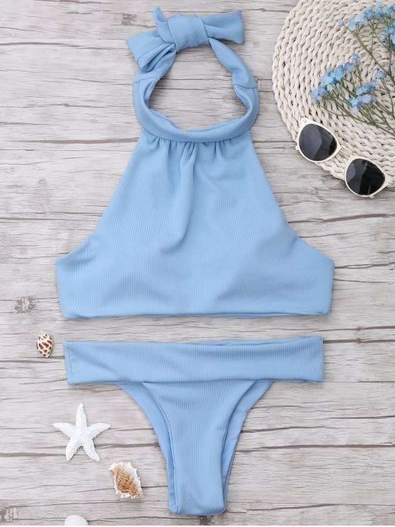 fancy Ribbed High Neck Bikini Set - LIGHT BLUE S