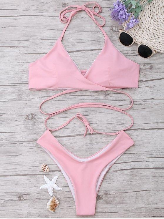 affordable Padded Halter Wrap Bikini Set - LIGHT PINK L