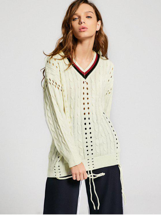 new Contrast Hollow Out Cable Knit Sweater - PALOMINO ONE SIZE