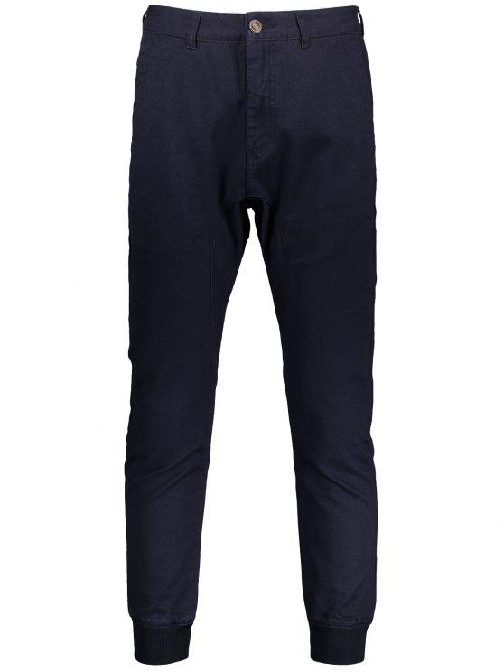 Men Casual Zip Fly Jogger Pants - Azul Arroxeado 32