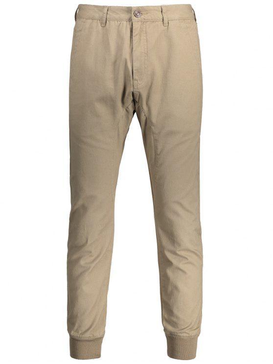 women Men Casual Zip Fly Jogger Pants - LIGHT KHAKI 32