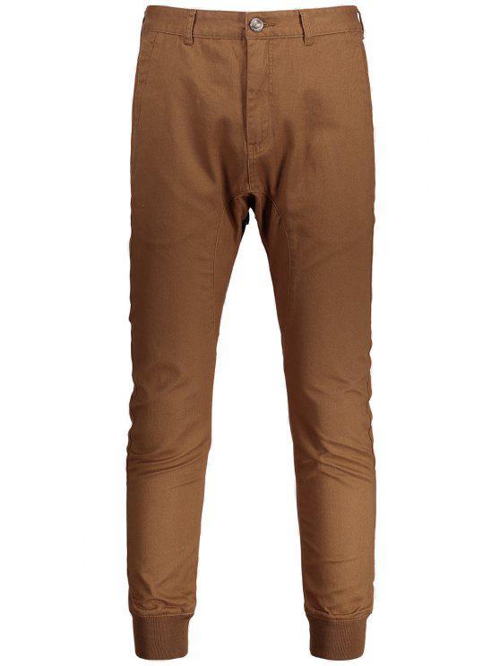 lady Men Casual Zip Fly Jogger Pants - BROWN 34