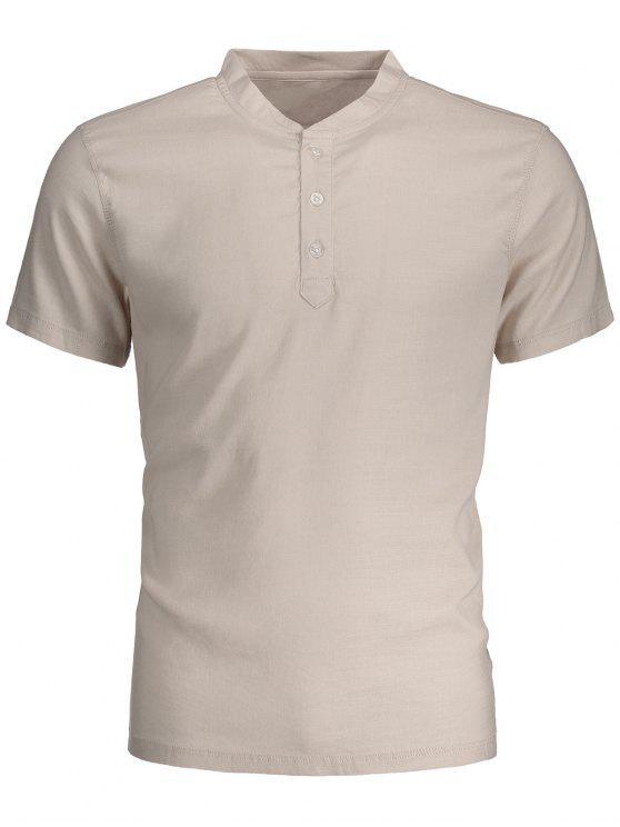 trendy Men Short Sleeve Polo Shirt - LIGHT BEIGE 3XL