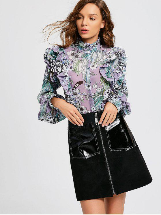 affordable Flounces Floral Chiffon Blouse - FLORAL S