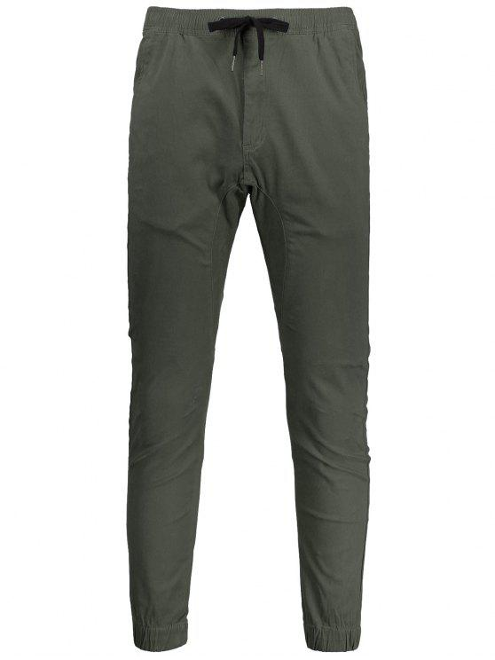 Casual Drawstring Jogger Pants - Vert Armée 38