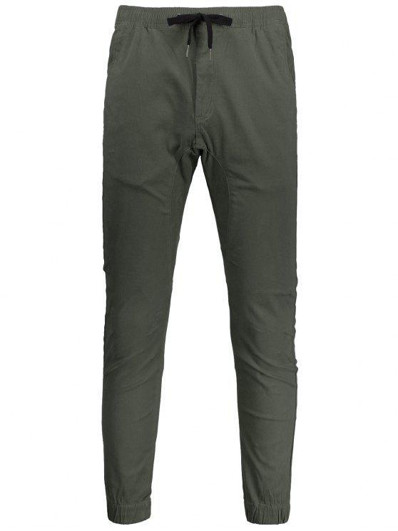 Casual Drawstring Jogger Pants - Vert Armée 32