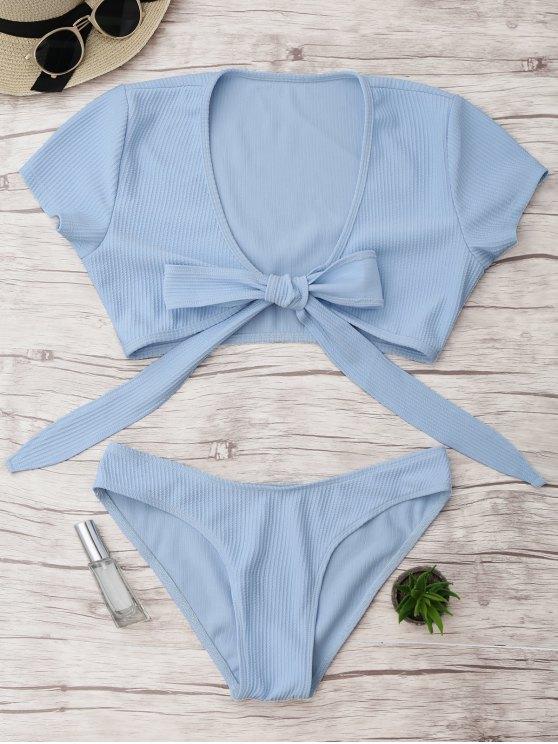 buy Knot Front High Cut Bathing Suit - LIGHT BLUE M
