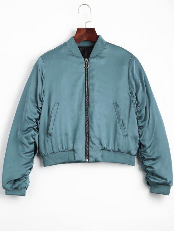 fashion Puffer Zip Up Bomber Jacket - LAKE BLUE S