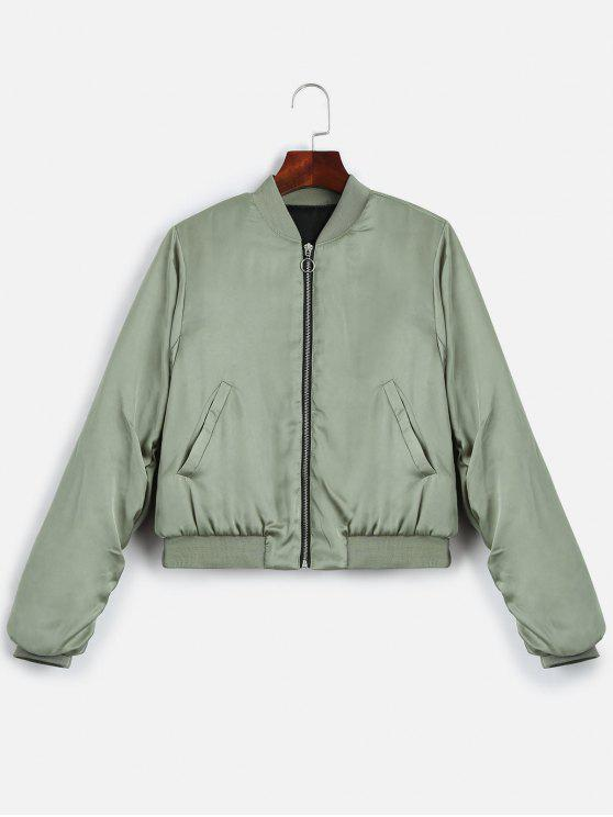 outfits Puffer Zip Up Bomber Jacket - LIGHT GREEN L