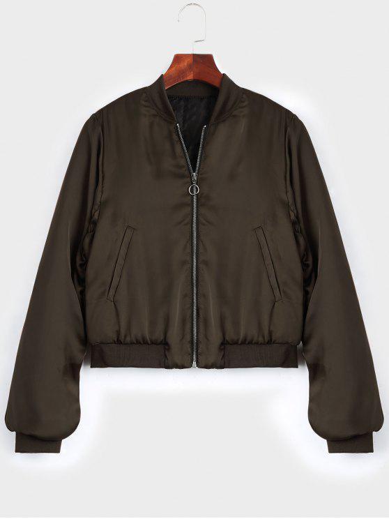 fancy Puffer Zip Up Bomber Jacket - COFFEE S