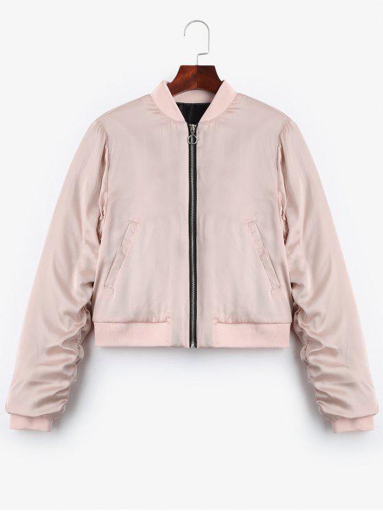 trendy Puffer Zip Up Bomber Jacket - PINK S