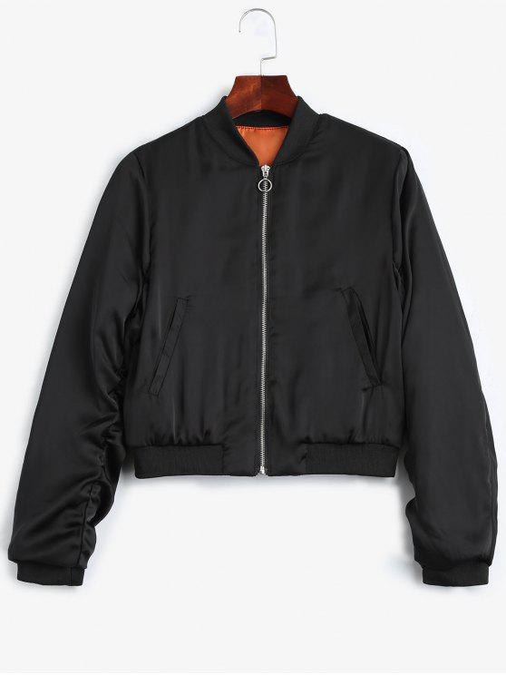 lady Puffer Zip Up Bomber Jacket - BLACK M