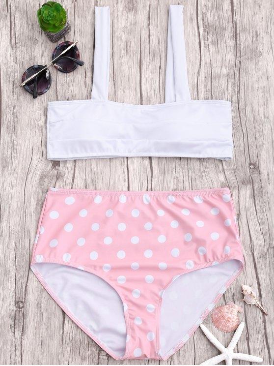 affordable Polka Dot Straps High Waisted Bikini - PINK L