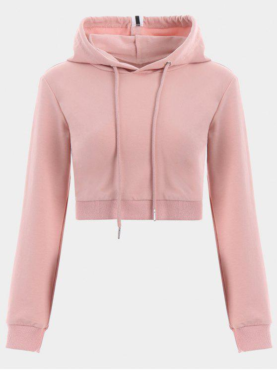 latest Cropped Drawstring Sports Hoodie - PINK L