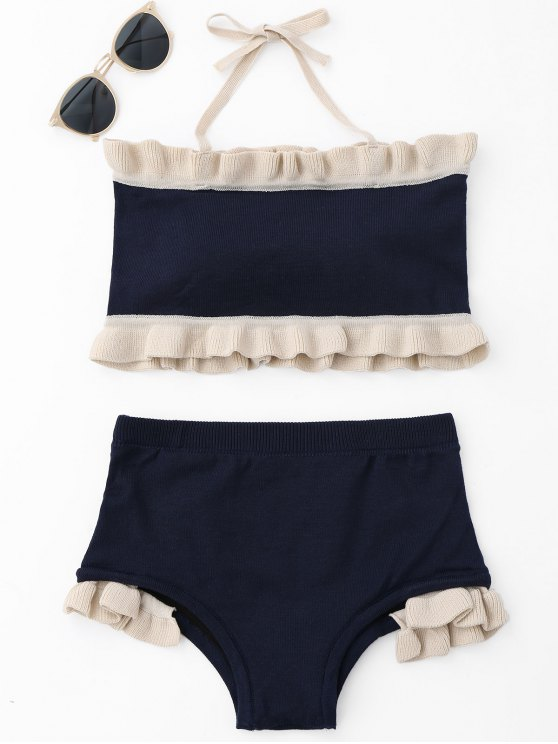 lady Ruffle Knit Halter Bikini Set - PURPLISH BLUE ONE SIZE