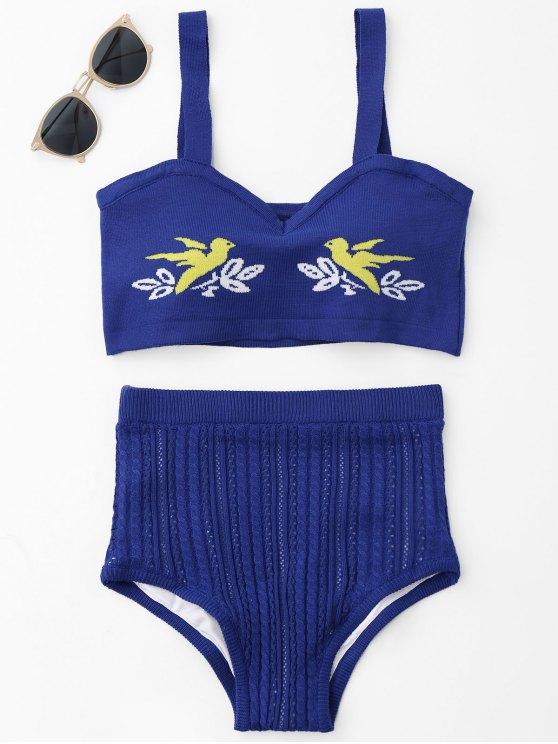 best Jacquard Knit Bikini Set - ROYAL ONE SIZE