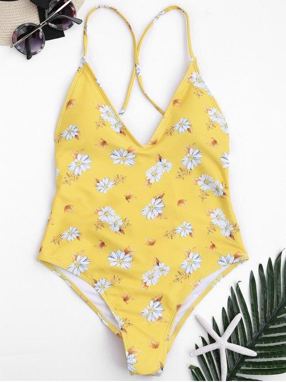 Traje de baño con cuello alto de corte cruzado floral - Amarillo M