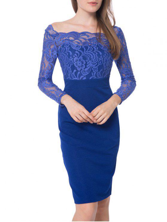 فستان دانتيل الأكمام قارب الرقبة - أزرق 2XL