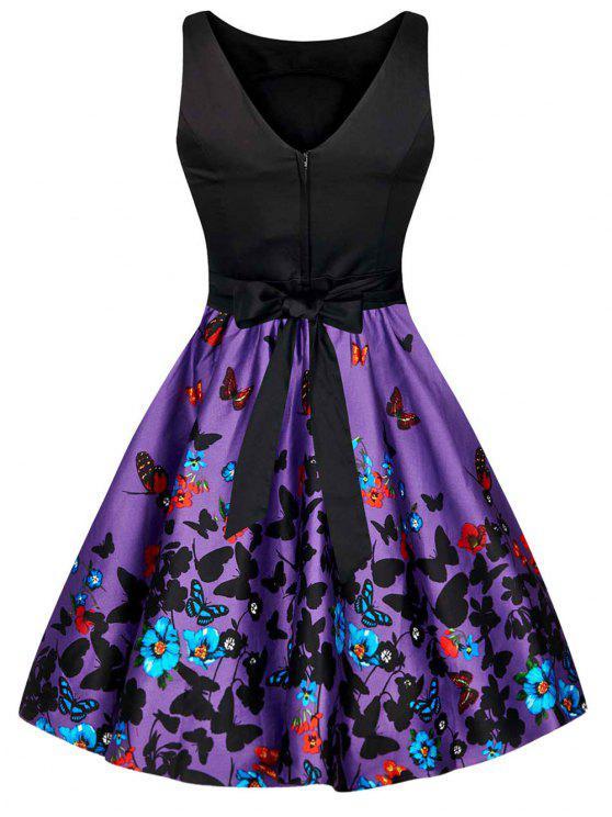 فستان طباعة الفراشة والأزهار بونوت كلاسيكي - Colormix 2XL