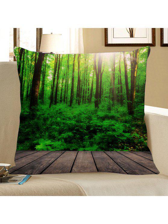 غطاء المخدة طباعة الغابة - أخضر W18 بوصة * L18 بوصة