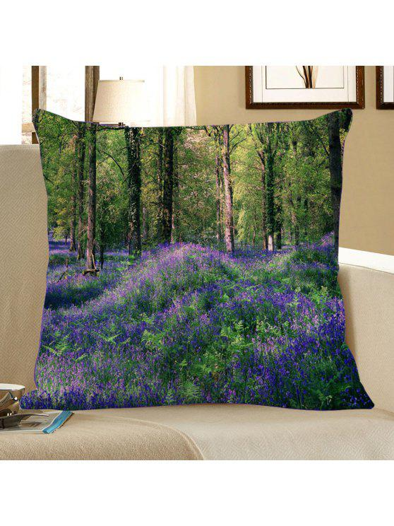 غطاء وسادة مزخرف بطبعة غابة من لافندر - أخضر W18 بوصة * L18 بوصة