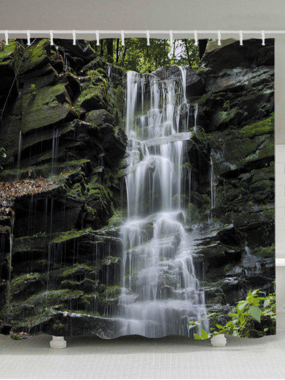 ستون فولز طباعة ماء حمام دش الستار - أبيض W71 بوصة * L71 بوصة