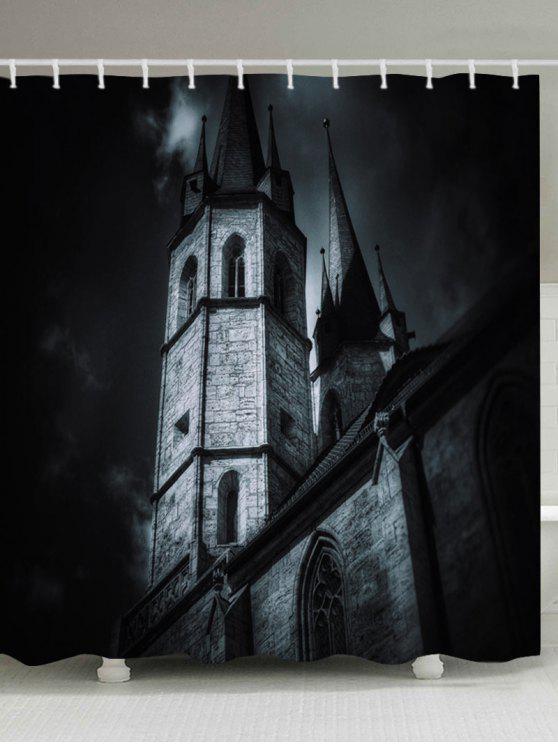 قلعة هالوين طباعة ماء حمام دش الستار - أسود W71 بوصة * L79 بوصة