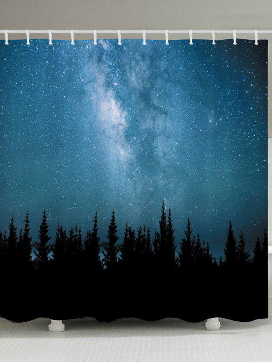 Online Starry Sky Forest Print Waterproof Bathroom Shower Curtain