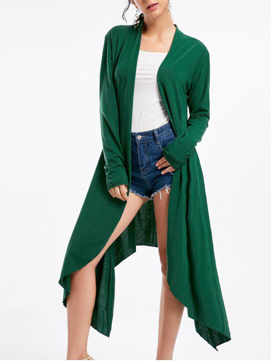 new Open Front Long Sleeve High Low Cardigan - DEEP GREEN M