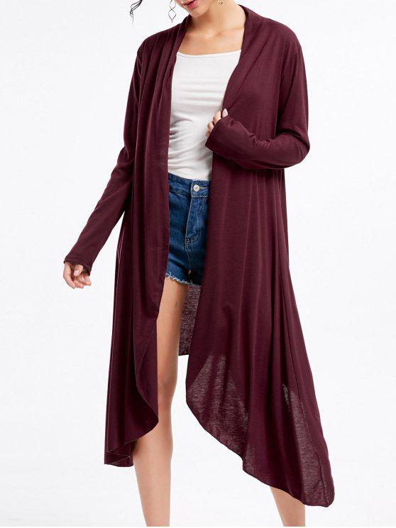 womens Open Front Long Sleeve High Low Cardigan - WINE RED 2XL