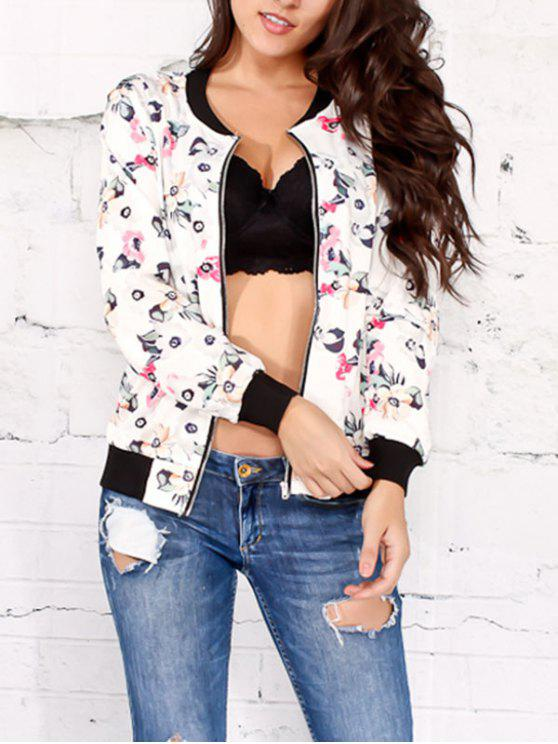 Blumen gedruckte Jacke mit Reißverschluss - Weiß 2XL