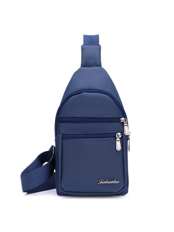 نايلون الرمز البريدي الجبهة حقيبة كروسبودي - أزرق