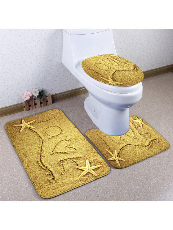 شاطئ الرمال الحب 3 قطع الفانيلا سكيدبروف المرحاض البساط مجموعة - الأصفر