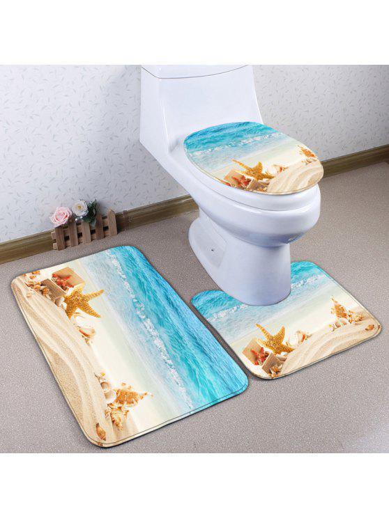 كونش بيتش 3 قطع عدم الانزلاق الفانيلا المرحاض حصيرة مجموعة - Colormix