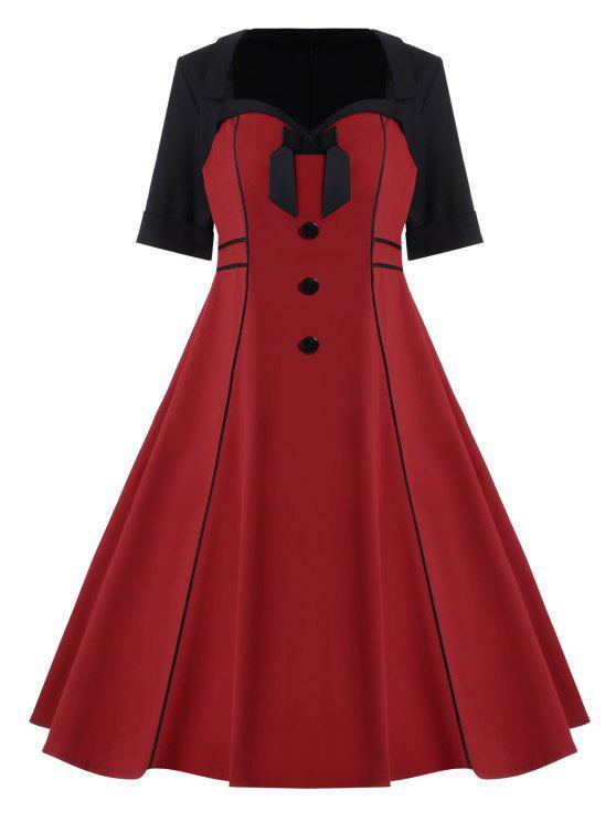 Bowknot Plus Size Midi Pin Up Dress
